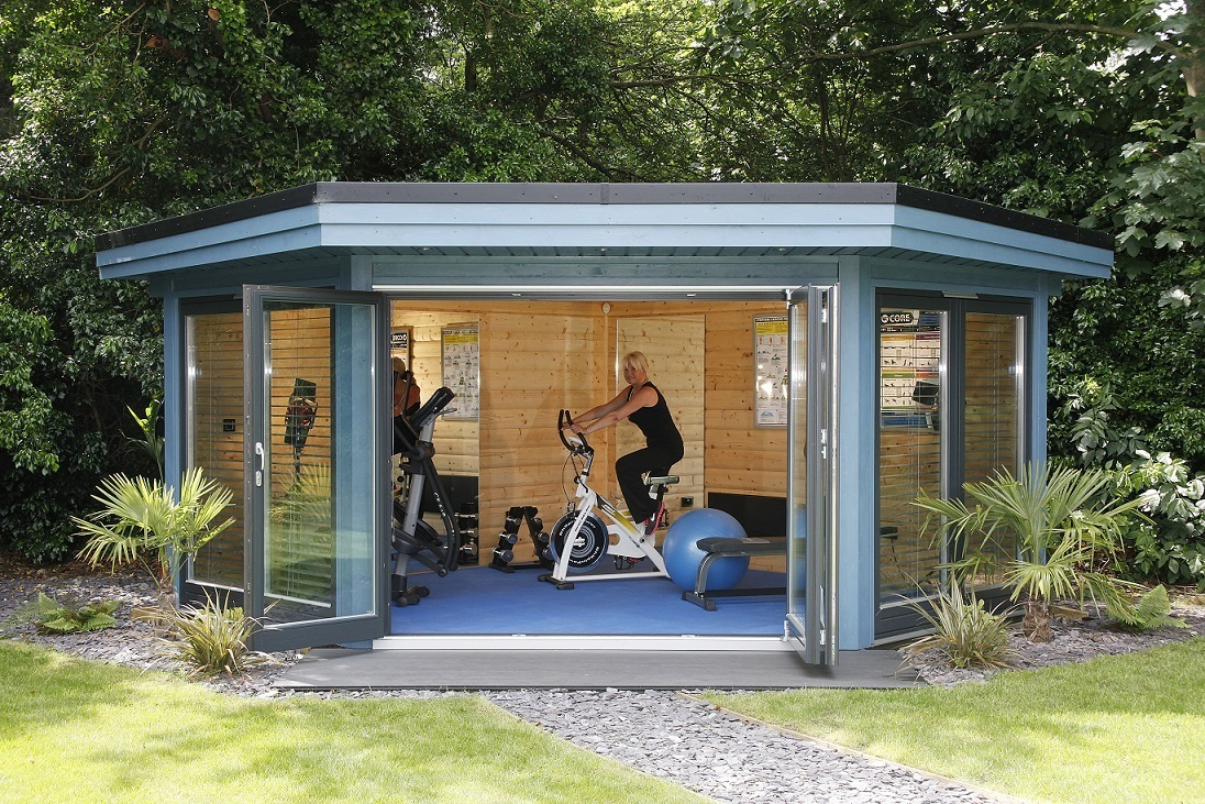 Garden gyms home gym buildings norwegian log for Garden shed gym