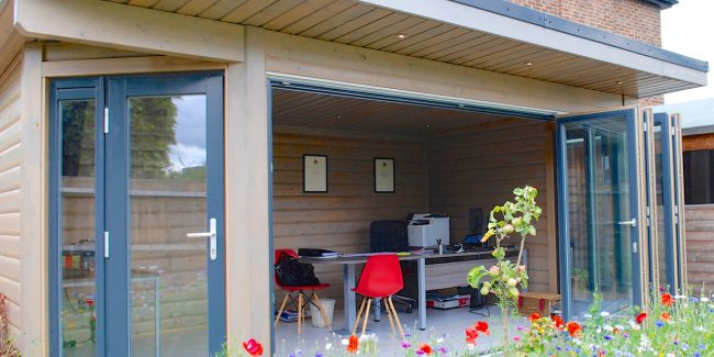 Norwegian Log Garden Office Surrey Med Res